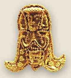 Esqueleto cubierto de laminillas de oro en Creta